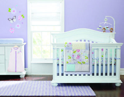 7 Pieces Baby Bedding Set Embroidery Butterfly Baby Crib Nursery Bedding Set