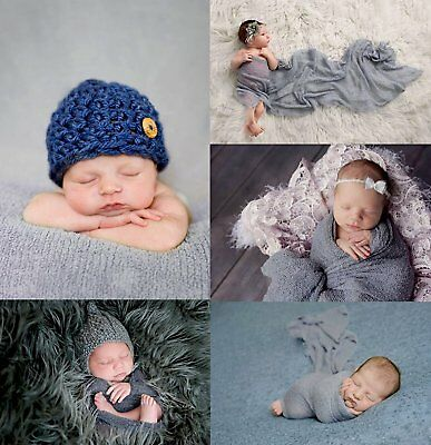 Gray Stretch Newborn Baby Wraps Photography Props Baby Cocoon Wrap Photo Blanket