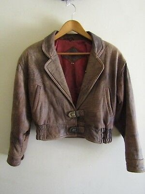 Vintage brown Italian leather cropped jacket retro glam pinup M