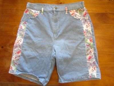Vintage 90s grunge LA Jeans high waist denim shorts with floral trim festival
