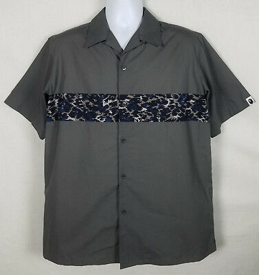 1a5171ed A Bathing Ape Classic Mens Size XL Short Sleeve Button Front Camp Bowling  Shirt
