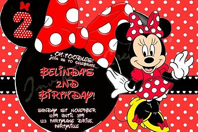 DIY Print Custom Girl Birthday Minnie Mouse Cute 2nd Any Age Party Invitations