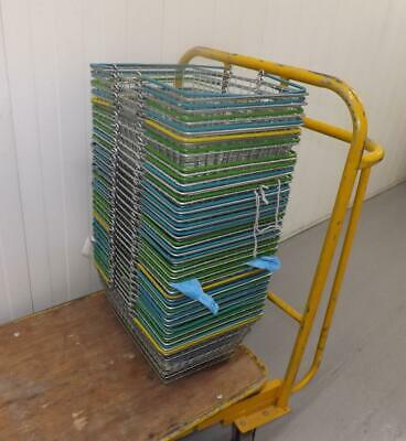 31 Wire Shopping Baskets Blue yellow and Green Handles Job Lot Good Condition