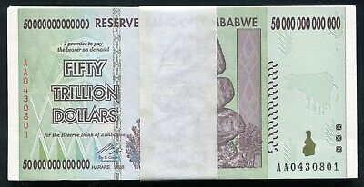 25 Consecutive 2008 50 Trillion Dollars Zimbabwe, Aa P90 Unc 100 Trillion Series