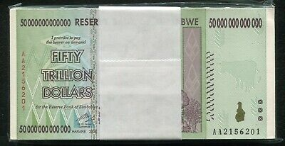 100 Consecutive 2008 50 Trillion Dollars Zimbabwe Aa P90 Unc 100 Trillion Series