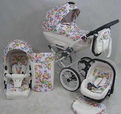 Pram Stroller Buggy Pushchair 3in1 - Classic retro style car seat  White