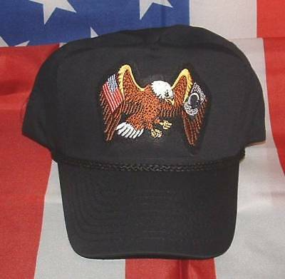 POW MIA Eagle Flags Emblematic High Crown Trucker Style Military Ball Cap  Hat. 1487bc0a17c8