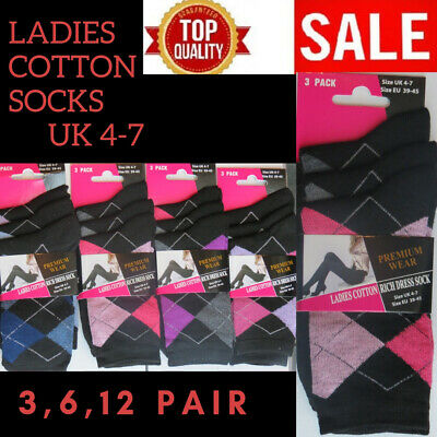 Ladies Girls Womens Cotton Rich Socks (  Size 4-7 )( 12 Pairs ) Diamond Arygle