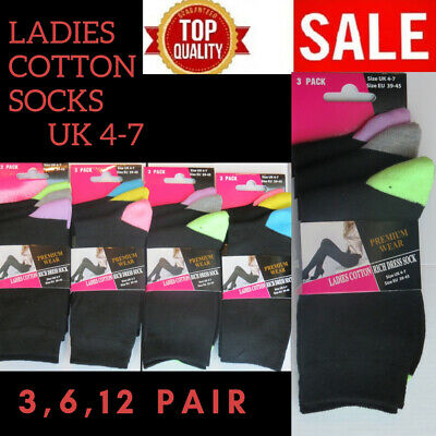 Ladies Girls Womens Cotton Rich Socks (  Size 4-7 )( 12 Pairs ) Blacks Colours