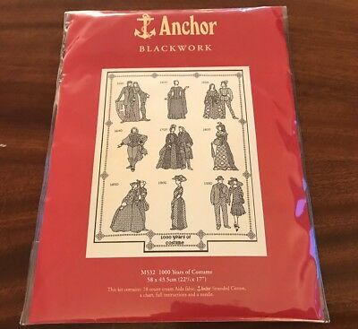 1000 Years Of Costume Anchor Blackwork Embroidery Kit 22X17 Inches