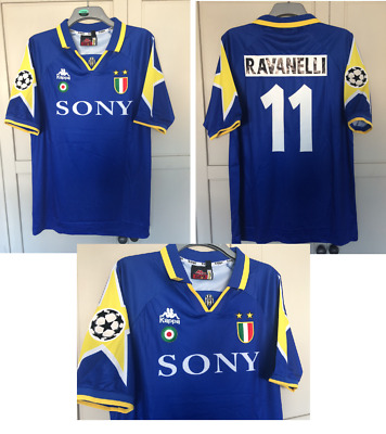 74feed5db49 1995 -1996 Juventus Ravanelli Blue Football Shirt Kappa Large Retro New Boro