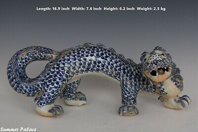 Fine Beautiful Chinese Blue and White Porcelain Dragon Statue