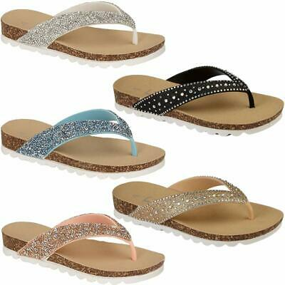 New Ladies Womens Flip Flops beach summer toe post Sandals girls Glitter Shoes