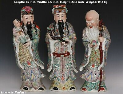 Fine Beautiful Chinese Famille Rose Porcelain FU LU SHOU Immortals Statues