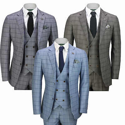 e3da7521762 Mens 3 Piece Suit Retro Windowpane Check Vintage Style Smart Casual Tailored  Fit