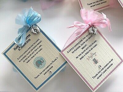 Baby Shower Candles Favour Girl Boy Gift Mummy to be Elephant Pink Blue Ivory