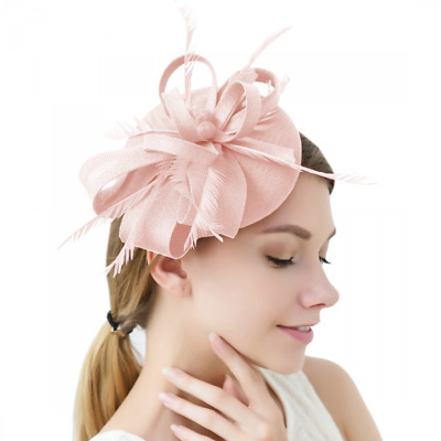 Sinamay Feather Fascinators Womens Pillbox Flower Derby Hat Cocktail Ball 6e604dce4197