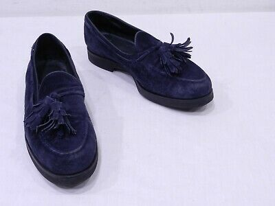 242ccb39cc3 Used Tod s Womens 36.5 6.5 Blue Suede Moc Toe Tassel Loafers made in Italy