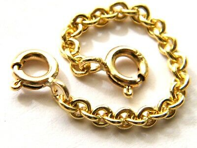 """Strong 9ct Gold Heavy Safety/ Extender Chain 1"""" for Necklace-Necklet 2.5mm Thick"""