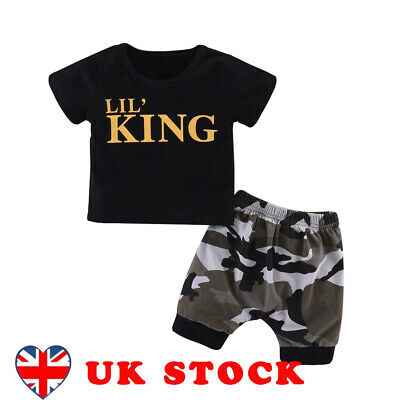 Newborn Baby Boys Kids Summer Clothes LIL' KING T-shirt+Camo Shorts Outfits Set