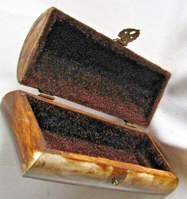 Antique Large Stunning Tibetan Hand Carv Buffalo Bone& Brass Detail Trinket  Box