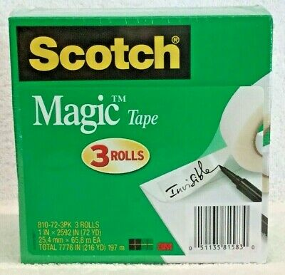 "3M Scotch Magic Tape 810 1"" x 2592"" Invisible 810723PK  3"" Core Refill Pack of 3"