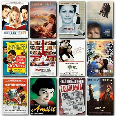 CLASSIC ROMANTIC MOVIE POSTERS Film Wall Art Print for Romance Love Gift Woman