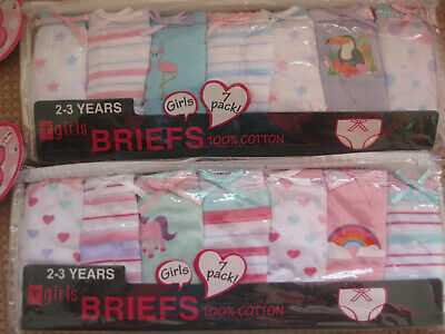 Girls 7 Pack of 100% Cotton briefs pants knickers age 2-3,3-4,5-6,7-8