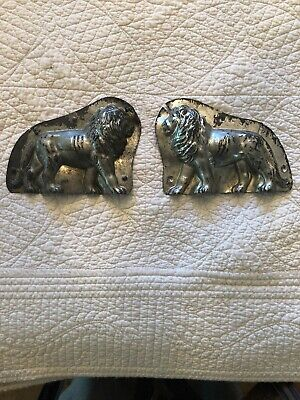 Antique Tin Metal Lion Chocolate Mold (Complete with Both Sides & 2 Clamps)