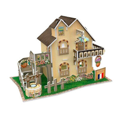 Prettyia 3-D Puzzle 1/24 DIY Dollhouse Assembly Kit - Country Cottage
