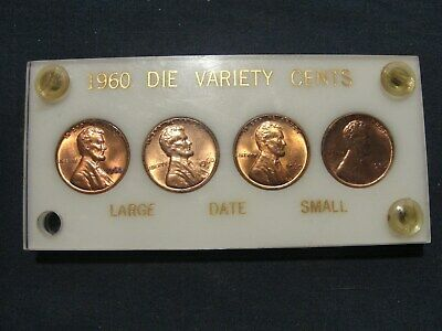 """1960 P & D Large & Small Date Lincoln Penny """"Red BU Cent Lot"""" In Variety Holder"""