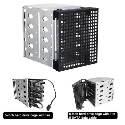 """5 Bay 3.5"""" SATA Hard Drive Backplane Enclosure Cage with 120mm Front Fan Bay"""