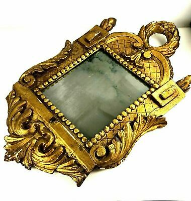 19th Century Early 1800's Gilded Gessoed Tarnished Italian Carved Mirror