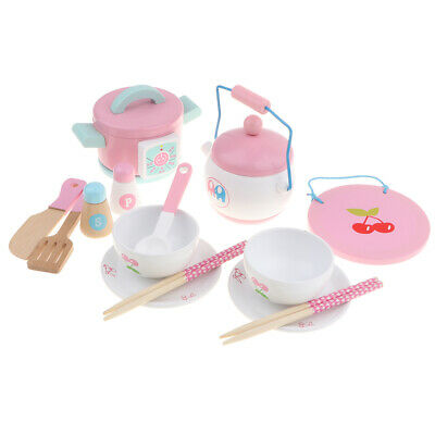 Prettyia 14PCS Play House Toy Wooden Kitchen Cooking Pots Pans Food Cookware