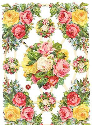 Decoupage Scrap For Hobby Craft & Scrapbook Pink Flowers Posy Bouquets Floral