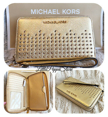 dc5efaeac5c9 Nwt Michael Kors Grommet Leather Hayes Lg Flat Mf Phone Case Wallet In Gold
