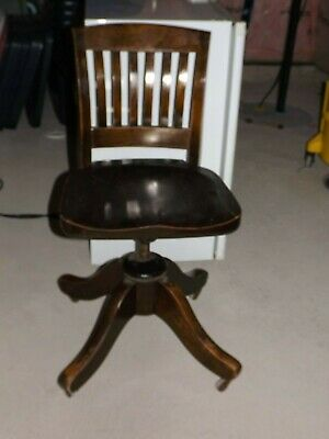 Antique Wood Office Chair Adjustable Up Down Back Rolls Swivel - Cash @ Pick Up
