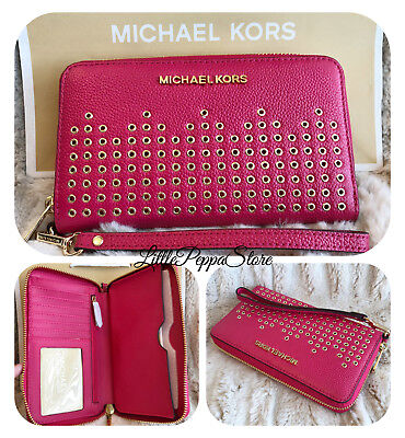 abecfd496342 Nwt Michael Kors Grommet Leather Hayes Lg Flat Mf Phone Case Wallet In  Rubin Red