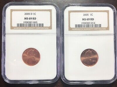 2005-P & D LINCOLN MEMORIAL CENT 1C PENNY COIN NGC MS69 RD (RED) *Rare in MS69*