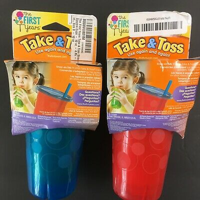 The First Years Take Toss 10 oz Spill-Proof Cups Assorted Colors 4 ea X 2Pkgs