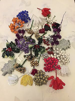 20x Christmas Picks Joblot Fake Berries Holly Leaves Cones Wreath Decor Craft