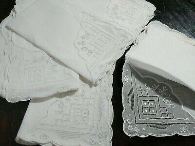 6 VINTAGE White Linen with ORGANDY Corners EMBROIDERY Madeira Luncheon Napkins