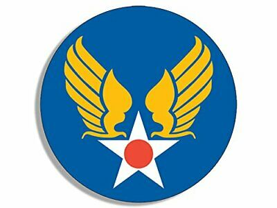 4x4 inch Round Army Air Corps Star and Wings Sticker (Logo Insignia us)