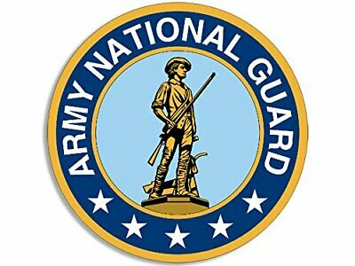 4x4 inch Round Army National Guard 5 STARS ON BOTTOM Logo Sticker (military vet)