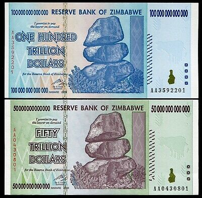 Pair Of 2008 50 & 100 Trillion Dollars Reserve Bank Of Zimbabwe, Aa P90/P91 Unc