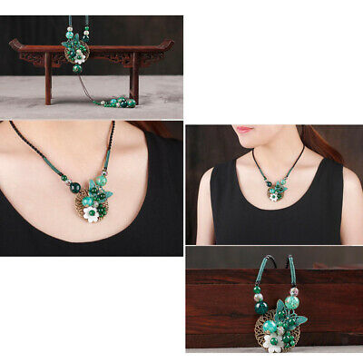 Ethnic Agate Beads Flower Pendant Long Chain Sweater Necklace Women Jewelry