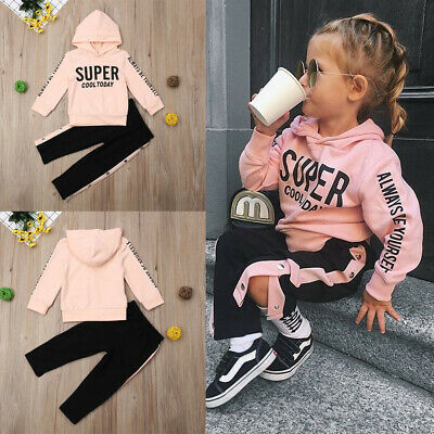 Toddler Kids Baby Girls Hooded Tops + Pants Tracksuit Sportswear Outfits Set