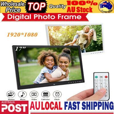 """17"""" LED Digital Photo Metal Frame Electronic Picture Album Remote 32GB SD Card"""