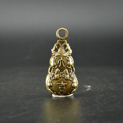 Chinese old collection handwork bronze gourd shape Pendant statue