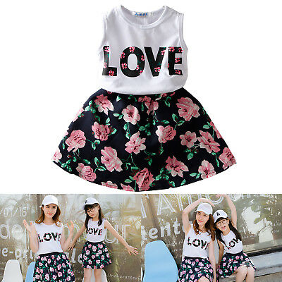 2-7 Years Toddler Baby Girls Lovely Outfits Clothes T-shirt Top Skirt Dress Set